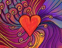 Paint illustration - Love theme - School project