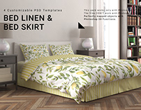 Bed Linen with Gathered Bed Skirt Set