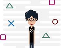 The Gamer - Geometric Flat Illustration