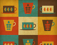 Retro coffee - Swedish style illustration