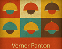 Verner Panton Flowerpot Lamps - Retro art print