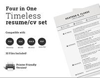4 in 1 Timeless Resume CV Set