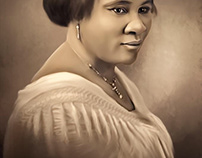 Madam C.J.Walker Digital Oil Painting by Wayne Flint