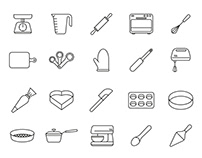 20 Baking Tools Vector Icons