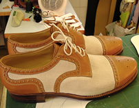 Canvas and leather combination shoe