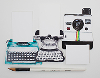 Watercolor Illustrated Typewriters & Polaroid Cards