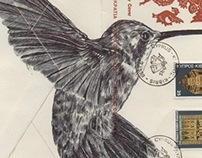 Bic Biro Drawing on Vintage envelope.