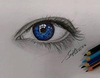 Blue Eye - Realistic pencil Drawing