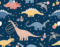 Dino's birthday party - cute vector patterns for kids