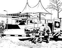 Achtergrond tekeningen animatie Rode Kruis