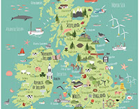 Illustrated A2 map of British Isles/UK