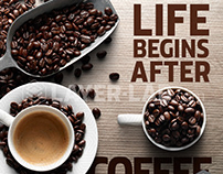 LIFE BEGIN AFTER COFFEE! compo made with PNG images