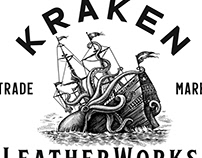 Kraken Leatherworks Logo illustrated by Steven Noble
