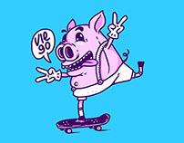 skating piggy