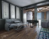 House loft-style (music room-cabinet)