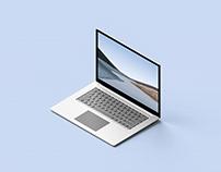 Isometric Surface Laptop 3 Mockup