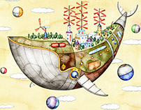 Airship city in the shape of a whale.