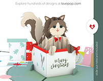 Christmas Cat Lovepop Card