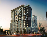 Dusk View Of Modern High Rise Building Exterior Design