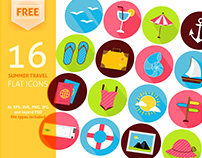 FREE Summer Travel Vector Flat Icons