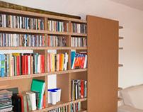 Slide, cardboard bookshelves