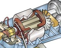 Illustration - Universal Motor Anatomy Cutaway