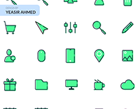 Office icons in filled line style.