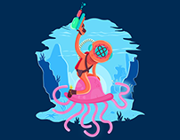 Wild divers rides jellyfishes // T-shirt Design