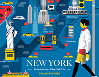 Illustrated maps of United States cities