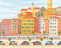 Menton France Retro Travel Poster City Illustration