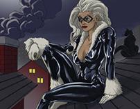 Black Cat Pin-Up - Rooftops - Fan Art
