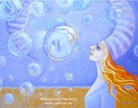 Violet bubbles - painting
