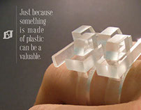 Plastic rings for women and men.
