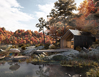 Cabin in forest autumn