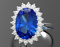 Classic Diana Ring With Sapphire & Diamonds.