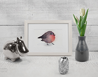 """Fluffy bird"". Cute birds in watercolor. Handmade"