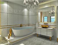Classic Bathroom Design with Golden Accessories