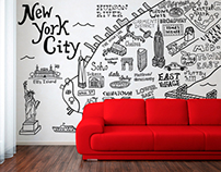 City Maps Wall Decal Illustrations