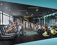 3D render of a gym space