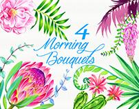 Watercolor romantic bouquets