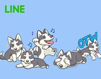 Playful Husky - Sticker for LINE