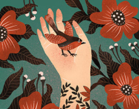 Bird & Flowers & My palm