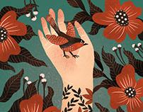 Bird & Flowers & My palm