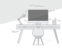 Work place/desk illustration