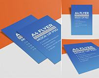 3 High Quality A4 Size Free Flyer Mockup PSD Set