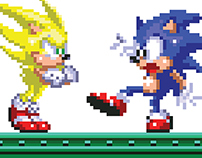 Sonic Vs. Super Pixel Art