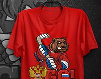 Hockey prints on t-shirts
