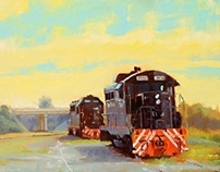 Cape Charles Engines - Plein Air - SOLD