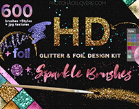 HD Glitter, photoshop brushes, textures design kit