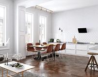 Scandinavian Modern Kitchen 3D Visualization